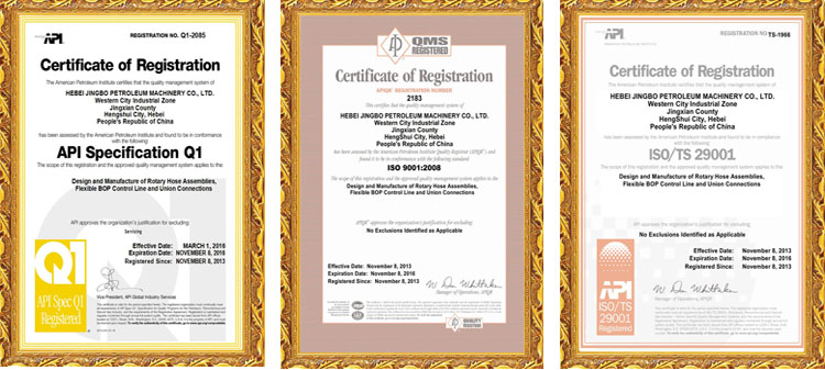 Certificates in oilfield hoses area