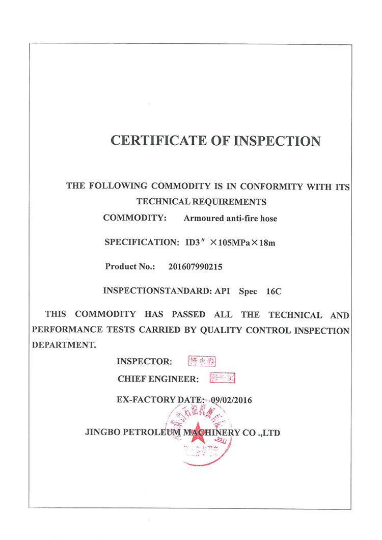 Certificate of Inspection 15000psi 16C_